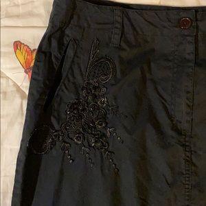 Newport News black embellished skirt w/pockets